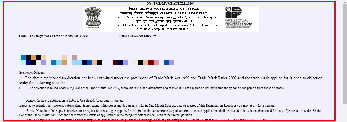 trademark examination report